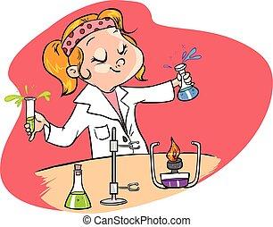 vetorial, fundo, cientista, vermelho, cute, jovem, ...
