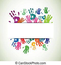 vetorial, fundo, coloridos, handprints