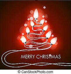 vetorial, fundo, com, árvore natal, e, luzes