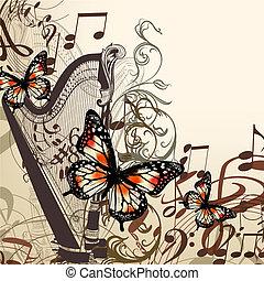 vetorial, fundo, com, harpa, notas, e, borboletas