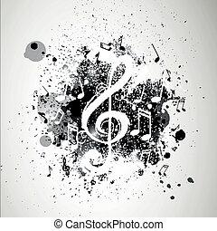 vetorial, fundo, com, notas música