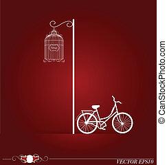 vetorial, fundo, com, silueta, bicicleta, em, park.