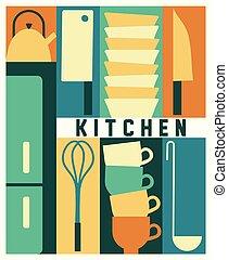 vetorial, fundo, cozinha