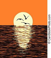 vetorial, fundo, de, mar, e, noite, pôr do sol