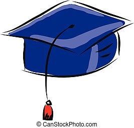 vetorial, fundo, escuro, boné, branca, azul, graduação, ilustração
