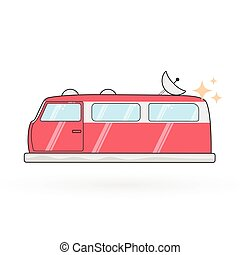 vetorial, furgão, hovercraft, ilustração