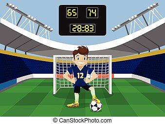 vetorial, futebol, apartamento, ilustração