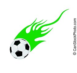 vetorial, futebol, chamas, bola
