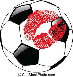 vetorial, futebol, lábios, bola