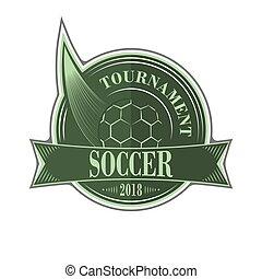 vetorial, futebol, torneio, emblema, ball.