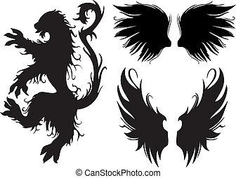 vetorial, gótico, leão, e, asas