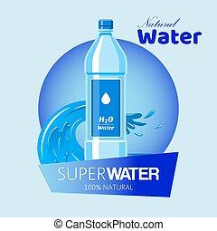 vetorial, garrafa, container., garrafas, fundo, saudável, super, bebida, agua, plástico, água, advertisement., feito, limpo, bandeira, natural, onda, label., illustration.