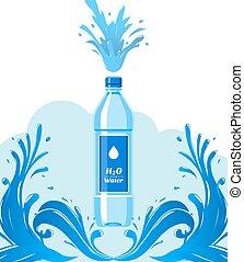 vetorial, garrafa, container., garrafas, puro, saudável, super, onda, bebida, fundo, agua, plástico, água, advertisement., feito, limpo, bandeira, natural, packaging., label., illustration.