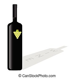 vetorial, garrafa, vinho