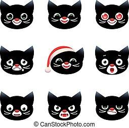 vetorial, gatos, caricatura, smilies