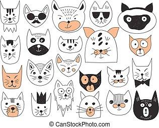 vetorial, gatos, cobrança