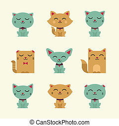 vetorial, gatos