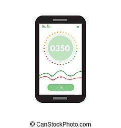 vetorial, gauges., contagem, crédito, style., app, apartamento, ilustração