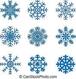 vetorial, gelado, snowflakes