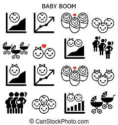 vetorial, geração, -, crescimento, taxas, meninos bebê, jogo, aumento, boomer, meninas, ícones, fertilidade