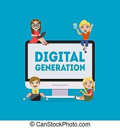 vetorial, geração, digital, comunicar, crianças, laptop, tocando, tabuleta, aprendizagem, jogos, bandeira, ilustração, smartphone