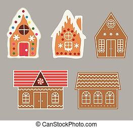 vetorial, gingerbread, jogo, biscoito, casa
