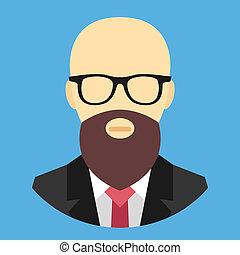 vetorial, glas, calvo, barba, homem