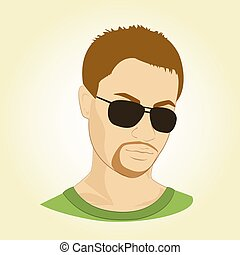 vetorial, glasses., ilustração, homem