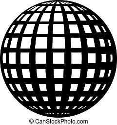 vetorial, globo, pretas, símbolo
