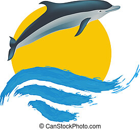 vetorial, golfinho, ilustração