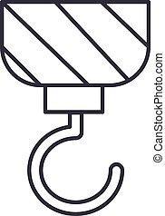 vetorial, golpes, editable, ilustração, sinal, construção, ícone, guindaste, linha, fundo