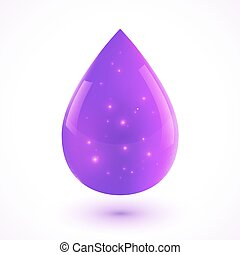 vetorial, gota, isolado, líquido, violeta