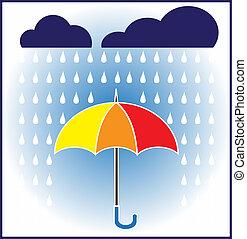 vetorial, gotas, guarda-chuva, chuva