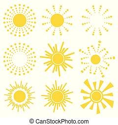 vetorial, gráfico, ícones, simples, sol, sunrise., amarela, símbolos, experiência., jogo, pôr do sol, ilustração, laranja, logotipo, branca, caricatura, kids.