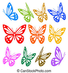 vetorial, gráfico, coloridos, -, silhuetas, borboletas, jogo
