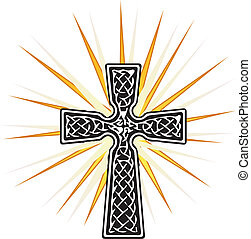 vetorial, gráfico, crucifixos, brilhar