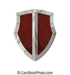 vetorial, gráfico, escudo, proteção, etiqueta, madeira, segurança, emblema, icon.