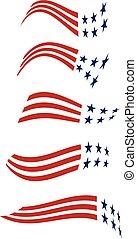 vetorial, gráfico, logos., listras, estados, unidas, desenho, estrelas
