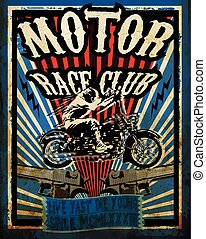 vetorial, gráfico, motocicleta, vindima, set., tee, projeto fixo, motocicleta