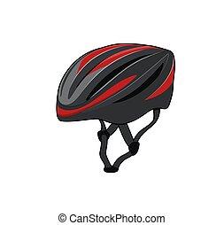 vetorial, gráfico, sports., bicicleta, helmet.,...