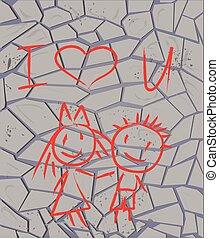 vetorial, graffiti, aquilo, brickwall