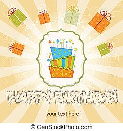 vetorial, grande, bolo aniversário, com, queimadura, velas