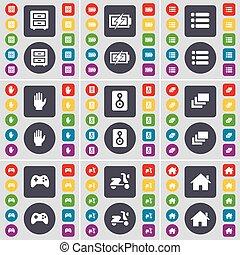 vetorial, grande, jogo, bed-table, colorido, apartamento, gamepad, mão, casa, galeria, símbolo., orador, botões, lista, scooter, encarregando, ícone, seu, design.