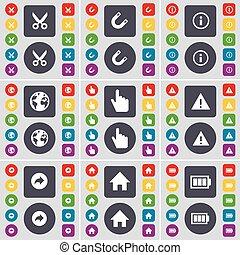 vetorial, grande, jogo, colorido, apartamento, mão, ímã, símbolo., casa, botões, bateria, costas, scooter, terra, aviso, ícone, seu, informação, design.