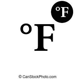 vetorial, graus, branca, ícone, fahrenheit, -