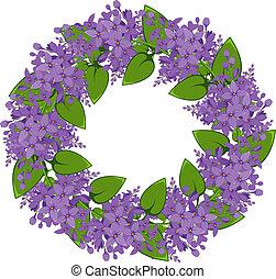 vetorial, grinalda, lilás, ramos