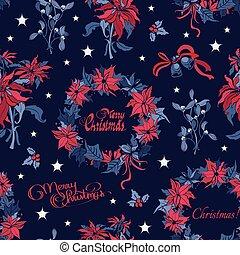 vetorial, grinalda, natal, noturna, flores, sinos, seamless, pattern., escuro azul