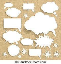 vetorial, grunge, bolha, papel, fala, fundo, papelão, estrutura, illustration.
