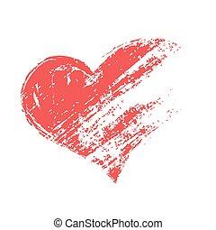 vetorial, grunge, coração vermelho, forma