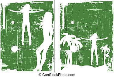 vetorial, grunge, experiência verde, jogo